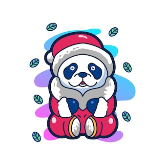 Panda illustration mignonne personnage logo mascotte