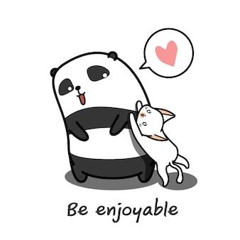 Panda joue au chat.