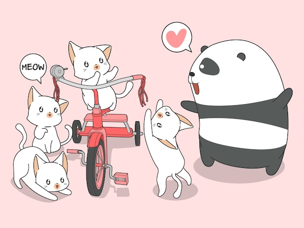 Panda kawaii et chats avec tricycle style cartoon.