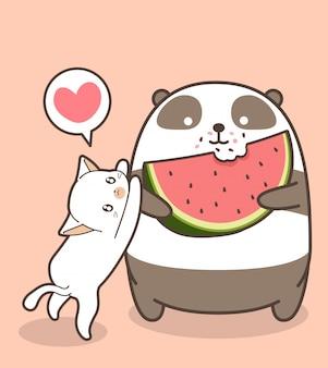 Le panda kawaii mange une pastèque