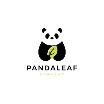 Panda leaf logo icône illustration vectorielle