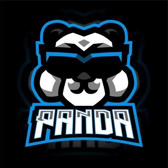 Panda avec logo de jeu de mascotte de lunettes