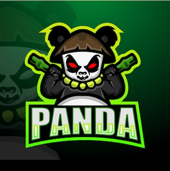Panda mascotte esport illustration