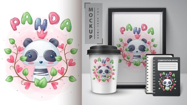 Panda mignon en affiche de feuille et merchandising