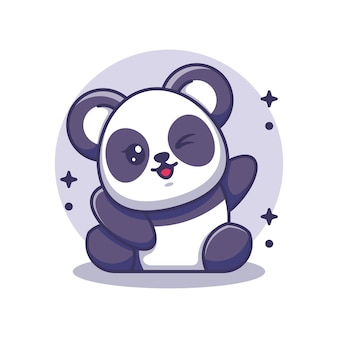 Panda mignon agitant la main
