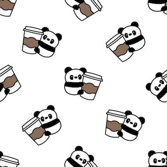 Panda mignon aime le modèle sans couture de dessin animé de café