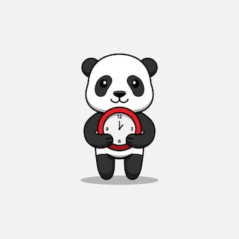 Panda mignon apportant une horloge