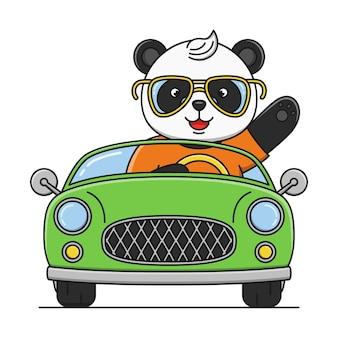 Panda mignon de bande dessinée conduisant une conception d'illustration de voiture