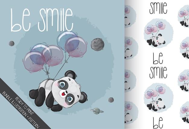 Panda mignon bébé animal heureux volant avec modèle sans couture de ballon