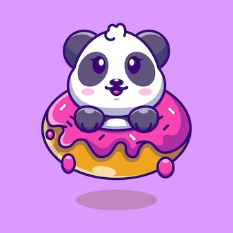 Panda Mignon Bébé Avec Dessin Animé De Beignet Vecteur Premium