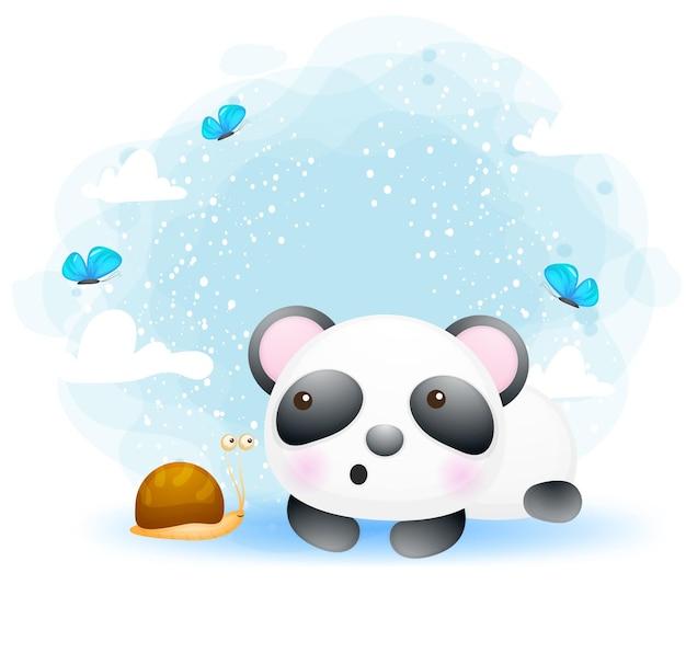 Panda mignon bébé avec personnage de dessin animé ami