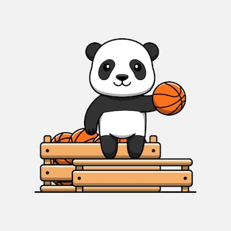 Panda mignon avec une boîte pleine de ballon de basket