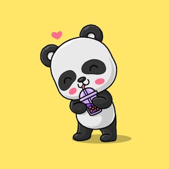 Panda mignon buvant une bulle de glace isolée sur jaune