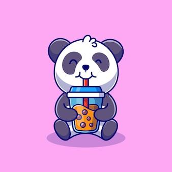 Panda mignon buvant du thé au lait boba dessin animé icône illustration nourriture animale icône concept isolé. style de bande dessinée plat