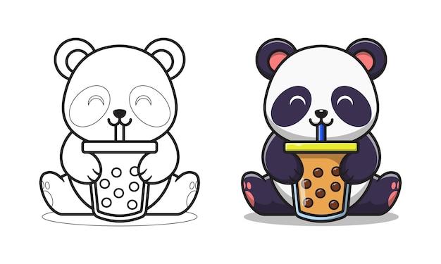 Panda mignon buvant des pages à colorier de dessin animé de thé à bulles pour les enfants