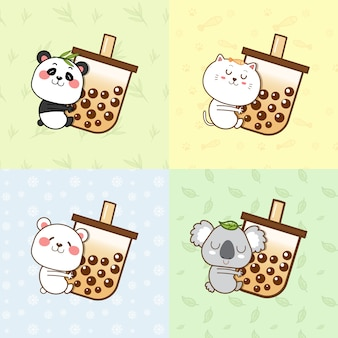 Panda mignon, chat, ours polaire, koala étreignant une tasse de thé à bulles.