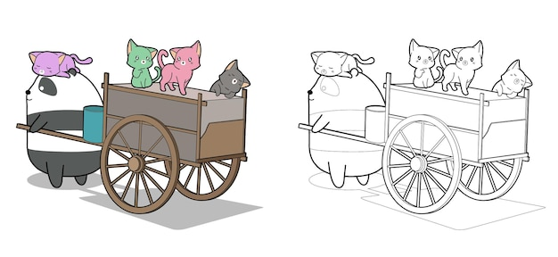 Panda mignon et chats avec la page de coloriage de dessin animé de véhicule de fret