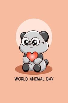 Panda mignon avec coeur en illustration de dessin animé de jour animal