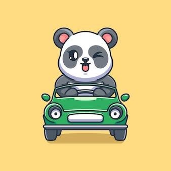 Panda mignon conduisant le dessin animé de voiture