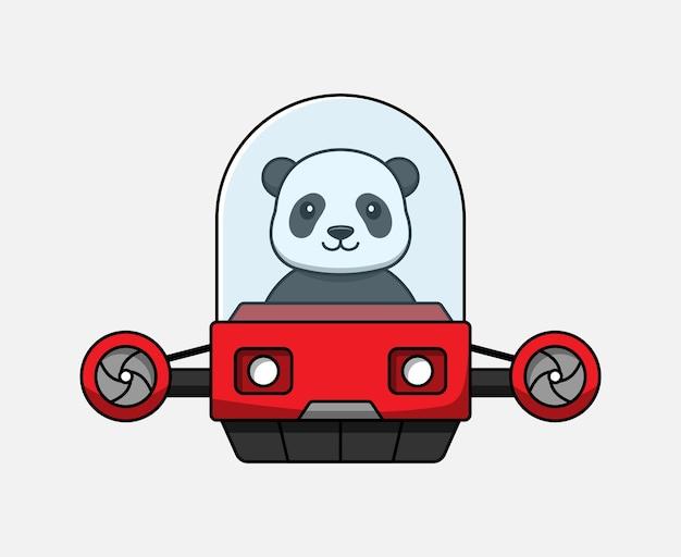 Panda mignon conduisant un véhicule volant