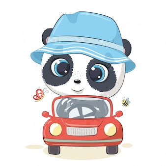 Panda Mignon Conduisant La Voiture. Vecteur Premium