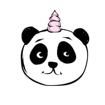 Panda Mignon Avec Corne De Licorne Vecteur Premium