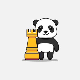 Panda mignon à côté d'une tour