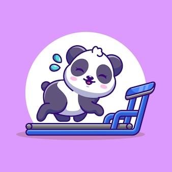Panda mignon en cours d'exécution sur le dessin animé de tapis roulant