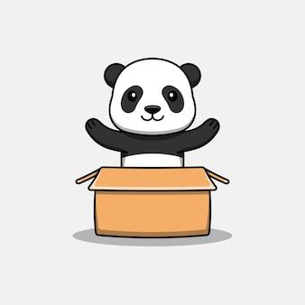 Panda mignon dans le carton