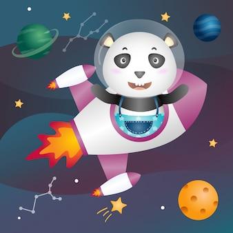 Un panda mignon dans la galaxie spatiale