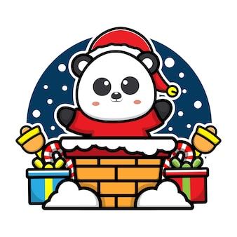 Panda mignon dans l'illustration de concept de noël de personnage de dessin animé de cheminée