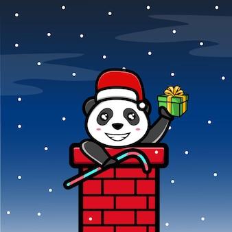 Panda mignon dans la nuit de noël