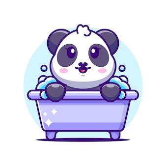 Panda Mignon Dans Un Personnage De Dessin Animé De Baignoire Vecteur Premium
