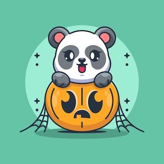 Panda mignon avec dessin animé citrouille