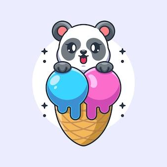 Panda mignon avec dessin animé cornet de crème glacée