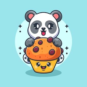 Panda mignon avec dessin animé cupcake