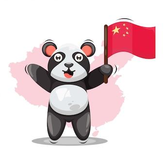 Panda mignon avec dessin animé du drapeau de la chine