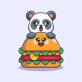 Panda mignon avec dessin animé gros hamburger au fromage