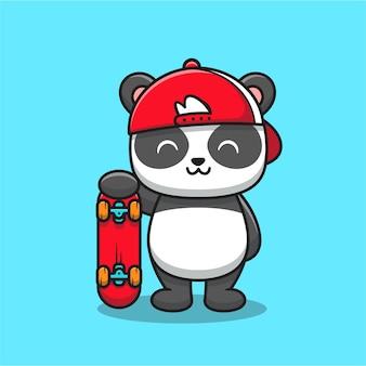 Panda mignon avec dessin animé de planche à roulettes. concept d'icône de sport animal isolé. style de bande dessinée plat