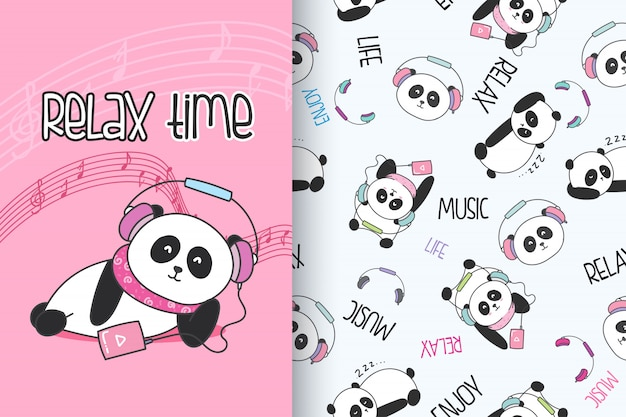 Panda mignon dessiné main avec set vector pattern