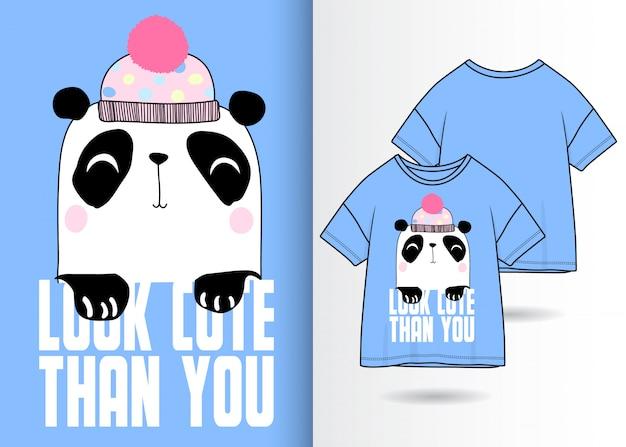 Panda mignon dessiné à la main