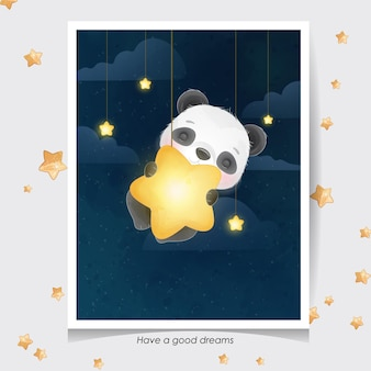 Panda mignon doodle avec illustration aquarelle