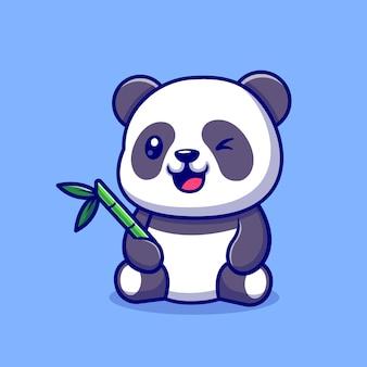 Panda mignon avec du bambou