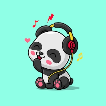 Panda mignon écoutant de la musique avec un casque