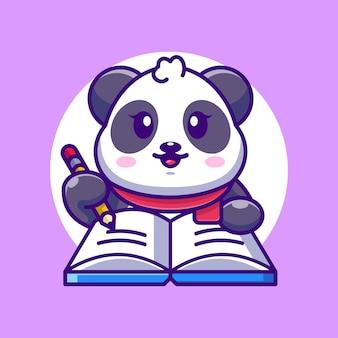 Panda mignon écrit sur livre avec dessin animé au crayon