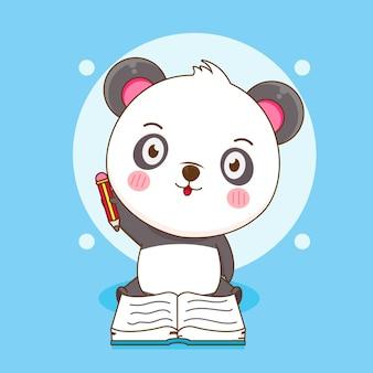 Panda mignon écrivant sur un livre avec un dessin au crayon