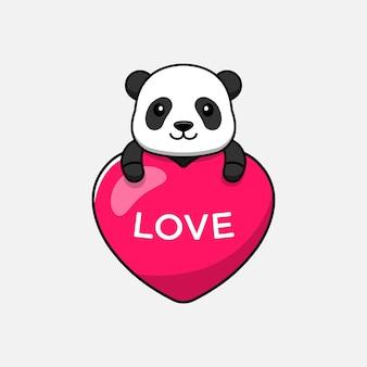 Panda mignon étreignant le ballon d'amour