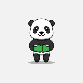 Panda mignon avec des gants de boxe