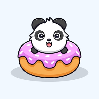 Panda mignon avec de gros beignets. illustration vectorielle de mascotte de dessin animé animal