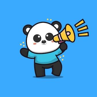 Panda mignon avec illustration de dessin animé de mégaphone